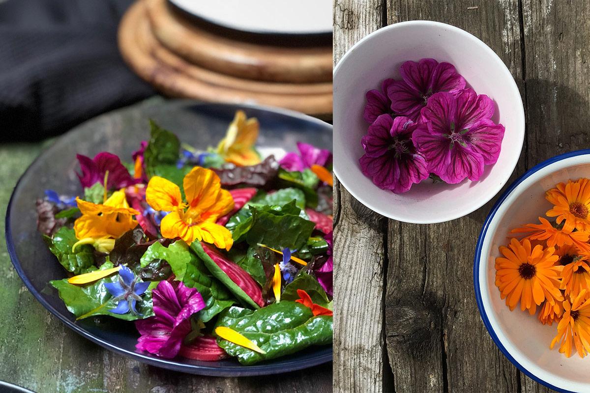 salade eetbare bloemen